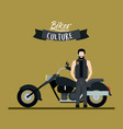 biker culture poster with man and classic vector image vector image