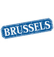 brussels blue square grunge retro style sign vector image vector image