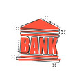 cartoon bank building icon in comic style bank vector image