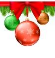 Christmas balls green fir branches bow white vector image vector image