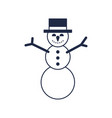 christmas snowman isolated icon vector image
