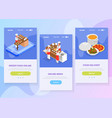 cooking isometric banners set vector image vector image