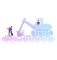 couple workers with spade and excavator digging vector image vector image