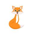cute little red fox lovely animal cartoon vector image vector image