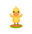 cute little yellow duckling character waving wings vector image