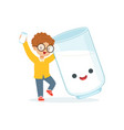 cute redhead little boy and funny milk glass with vector image