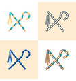 egyptian crook and flail icon set in flat and line vector image vector image