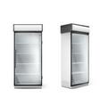 empty refrigerator with transparent glass door vector image vector image