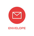 envelope round flat icon message symbol vector image vector image