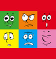 facial expressions on colorful background vector image vector image