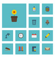 flat icons plant pot armchair trash basket and vector image vector image