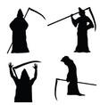 grim reaper holding scythe black silhouette vector image vector image