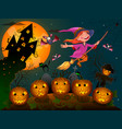 halloween little witch 1 vector image