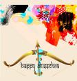 happy dussehra greeting card with krishna bow vector image vector image