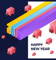 happy new year 2019 isometric text design with pig vector image vector image