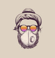 hipster with hat wearing protection ffp3 mask vector image vector image