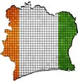 Ivory Coast map with flag inside vector image vector image