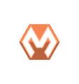 letter m shape hexagon logo white background vector image vector image