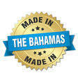 made in The Bahamas gold badge with blue ribbon vector image vector image