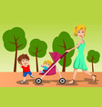 mother walking with her kids vector image vector image