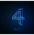 Neon 3D number 4 vector image vector image