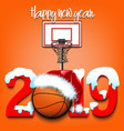 New year numbers 2019 and basketball ball