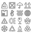 packaging and shipping symbols set line style vector image vector image