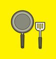 pan and spatula top view graphic vector image vector image