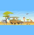 people in safari tour savanna wild landscape vector image vector image