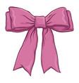 pink bow ribbon hand drawing vector image vector image