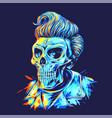 pompadour skull head in dark background vector image