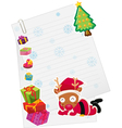 reindeer and paper note vector image vector image