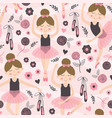 Seamless pattern pink with cute ballerina girl