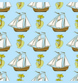 Seamless pattern with ship palms and island