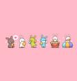 set cute rabbits happy easter bunnies stickers vector image vector image