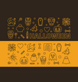 set of 2 halloween outline horizontal vector image vector image