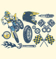 set of motocross objects in retro hand drawing vector image vector image
