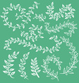 Set wreaths and laurel Hand painted green branches vector image vector image