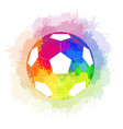 soccer ball with watercolor rainbow background and vector image vector image