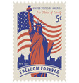 statue liberty in background nyc and flag vector image vector image