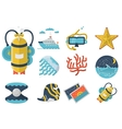 Summertime flat color icons collection vector image vector image