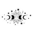 triple moon pagan wiccan goddess symbol sun sign vector image