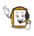 with headphone picture frame mascot cartoon vector image