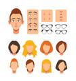 woman face constructor facial elements vector image