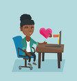 woman looking for online date on the internet vector image vector image