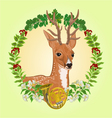 Young deer frame leaves and french horn vector image vector image