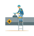 oilman working on an oil pipeline transportation vector image