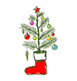 Christmas creative hand drawn cartoon vector image