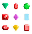 precious stone icons set flat style vector image