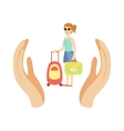 Woman Traveler With Suitcase Protected By Two vector image